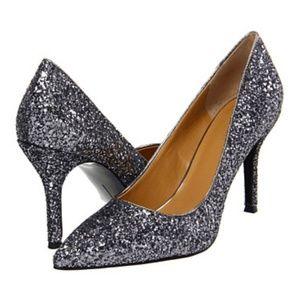 Nine West Flax Silver glitter pumps heels size 7